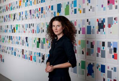Sara-Hughes--With-her-work-'Colour-Codes